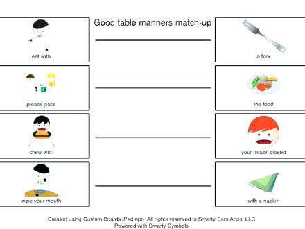 Manners Worksheets Kids Free Table Etiquette For 2nd Grade