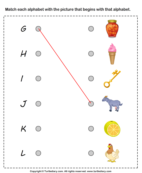 Matching Letters To Pictures G To I Worksheet