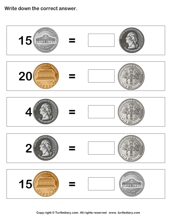 Matching Money Worksheet
