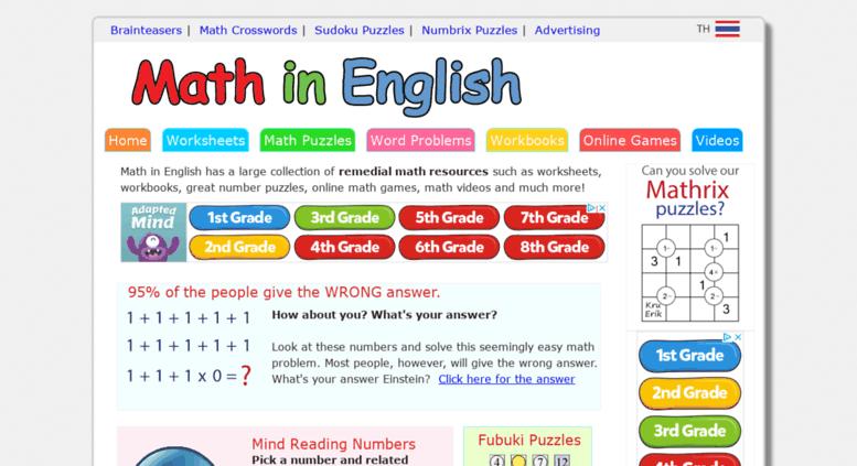 Access Mathinenglish Com  Free Printable Math Worksheets, Math