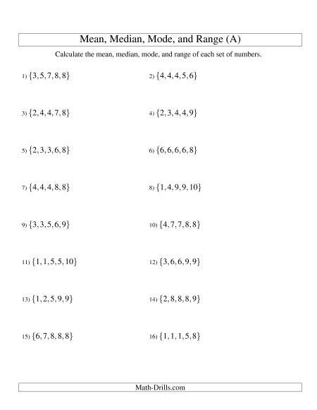 Statistics Worksheets