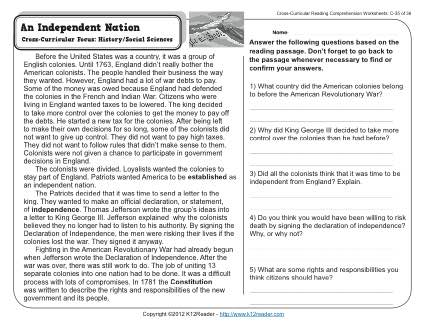 Middle School Reading Comprehension Worksheets High School Reading