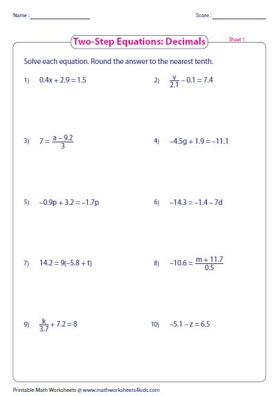 Two Step Equations Worksheets  Equations  Alistairtheoptimist Free