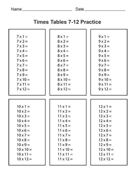 Multiplication Table Worksheet 1 12 Printable Multiplication Table