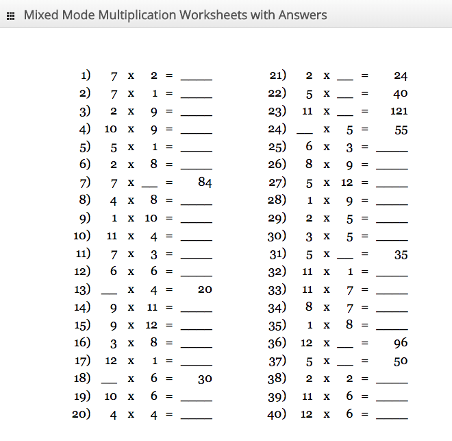 Multiplication Table Chart From 1 To 20
