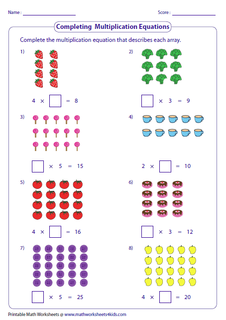 Multiplication Worksheets Arrays Completing Multiplication