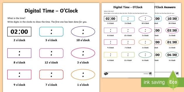 Digital Time O'clock Worksheet   Worksheet