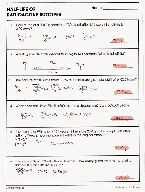 Nuclear Chemistry Worksheet Answer Key Nuclear Decay Worksheet