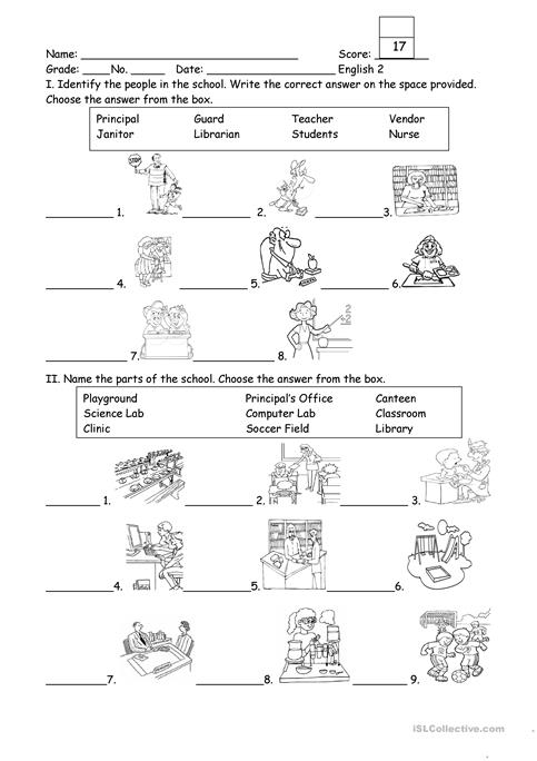 Parts Of The School Worksheet People And Part Of The School