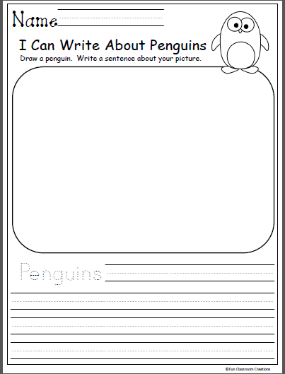 Free Kindergarten Winter Writing Worksheet