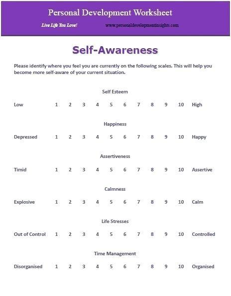 Personal Development Worksheets Free Self Awareness Worksheet