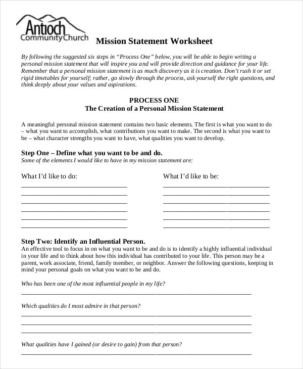 Personal Mission Statement Worksheet  Worksheets Freetmplts