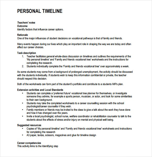 9+ Personal Timeline Templates – Free Samples , Examples , Format