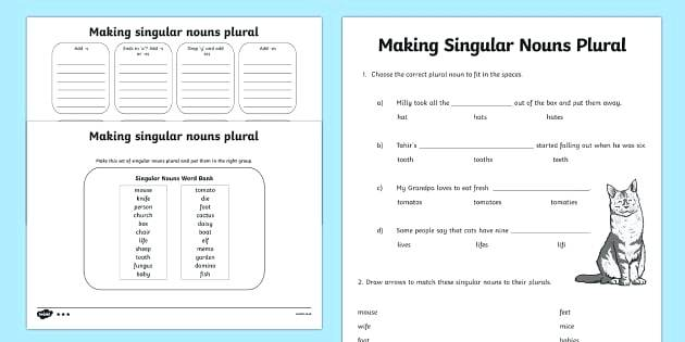 Plural Nouns Worksheets Making Singular Nouns Plural Worksheet