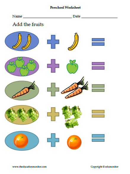 Preschool Math Worksheet, Simple Addition Facts, More