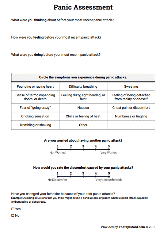 Panic Assessment (worksheet)