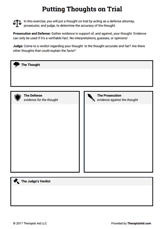 Cognitive Restructuring  Thoughts On Trial (worksheet)