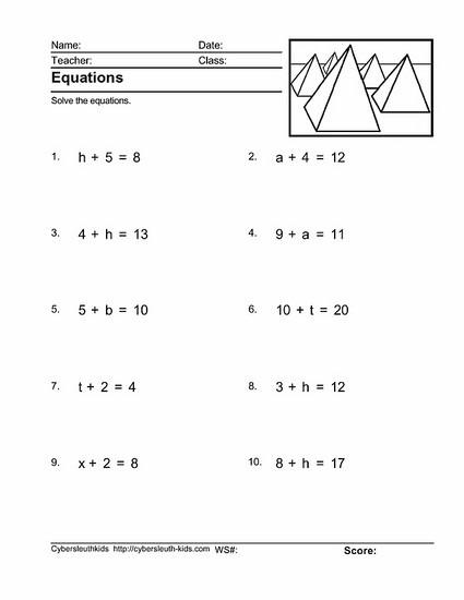 Printables  4th Grade Algebra Worksheets  Lemonlilyfestival