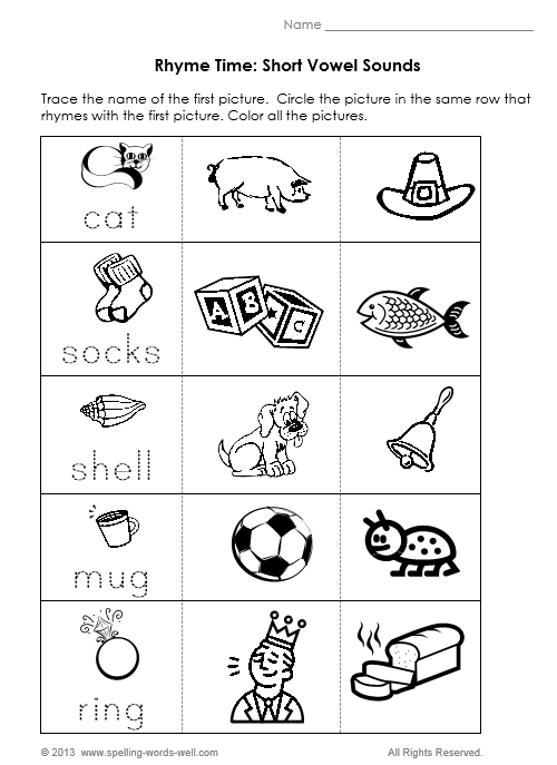 Rhyming Words Worksheets For Kindergarten For Printable ⋆ Free