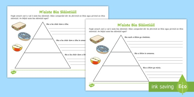 Healthy Eating Food Pyramid Writing Worksheet   Worksheets Gaeilge