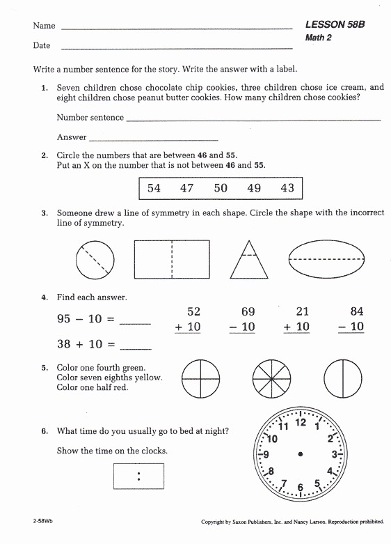 Saxon Math Worksheets 1st Grade Saxon Math For 5th Grade Elegant
