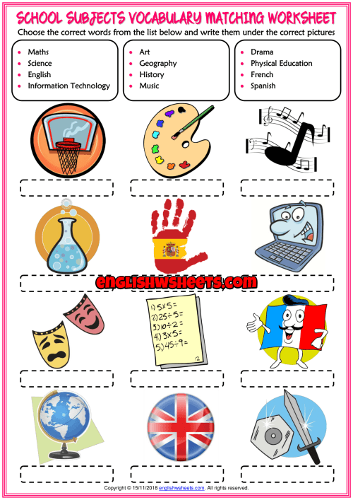 School Subjects Vocabulary Esl Matching Exercise Worksheet