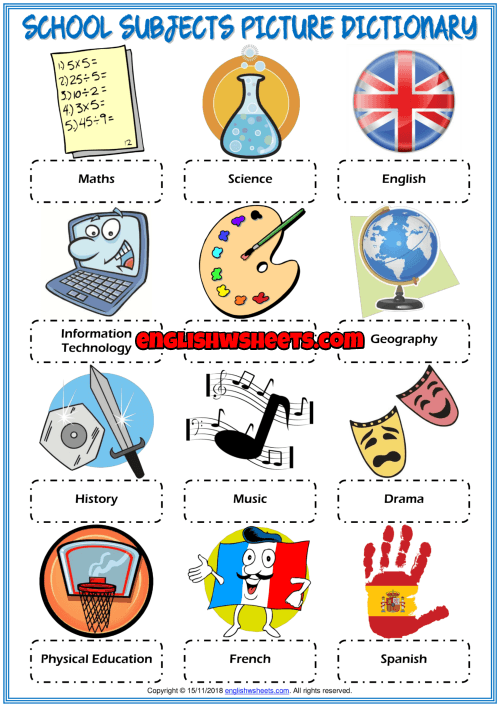 School Subjects Esl Picture Dictionary Worksheet For Kids