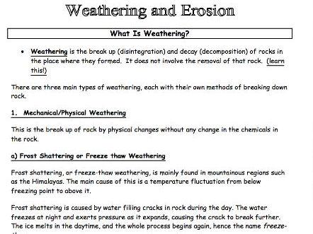 Weathering & Erosion Information Pack Worksheet