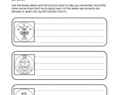 Seven Sacraments Pictorial Recall Worksheets