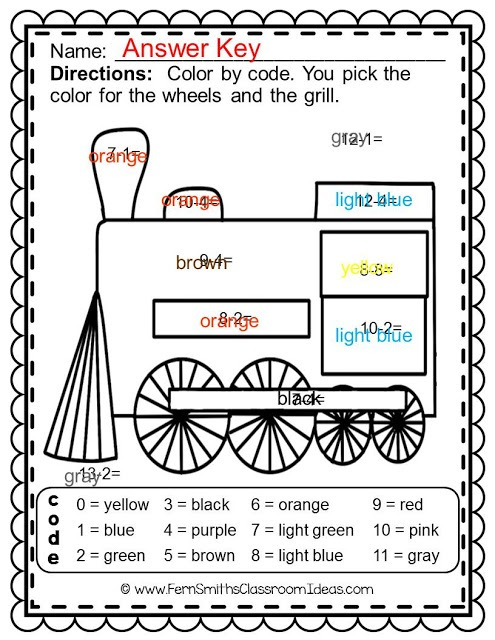 Christmas Polar Express Math Subtraction And Addition Color Your