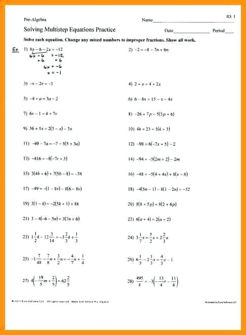 Solving Multi Step Equations Worksheet Answers Algebra 1 The Best