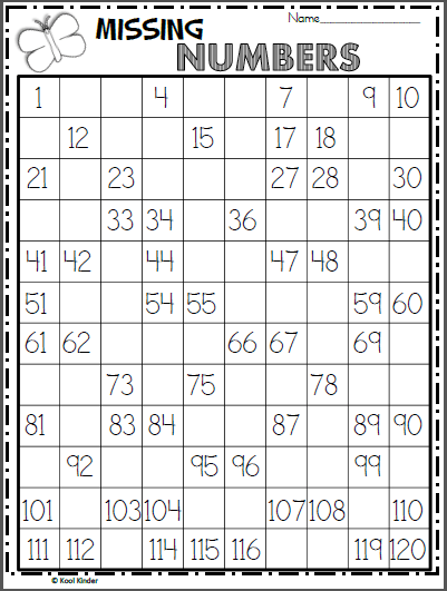Free Numbers Chart Worksheet