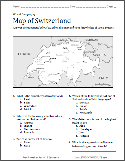 Map Of Switzerland Worksheet