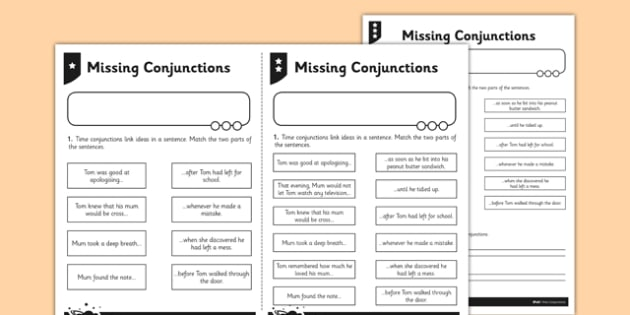 Time Conjunctions Mum And Tom Differentiated Worksheet   Worksheet