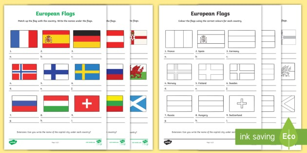 European Flag Worksheets