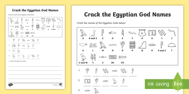 Crack The Hieroglyphs Egyptian God Names Worksheet