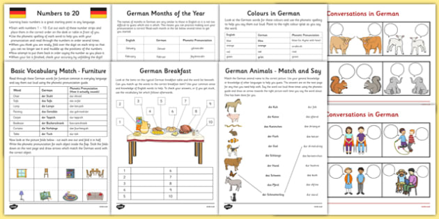 Learn German Worksheet Starter Pack