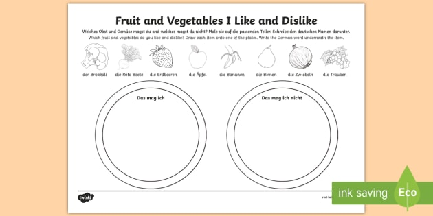 Foods I Like And Dislike (fruit And Vegetables) Worksheet
