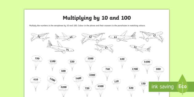 Multiplying By 10 And 100 Worksheet