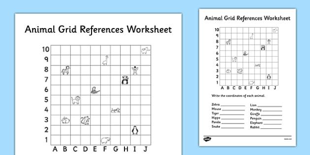 Animal Grid References Worksheet