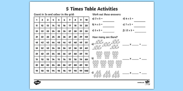 5x Table  5 Times Table Worksheet