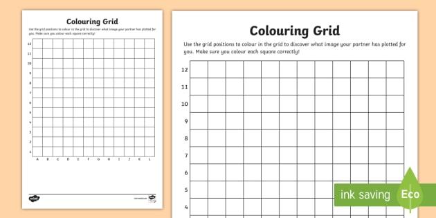 Blank Colouring Grid Worksheet   Worksheet