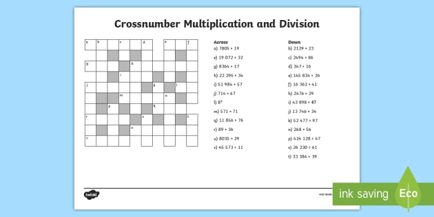 Uks2 Crossnumber Multiplication And Division Worksheet   Worksheet