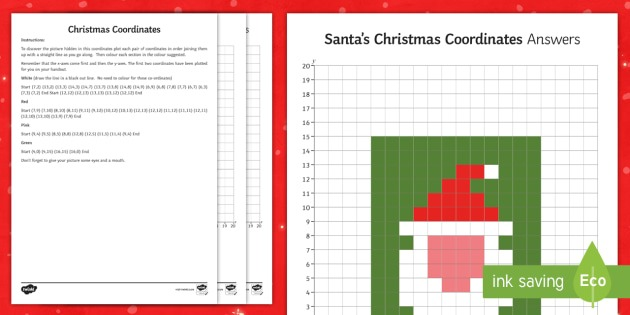 New   Ks2 Santa's Christmas Coordinates Worksheet   Worksheet