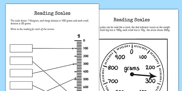 Reading Scales Worksheet   Worksheet
