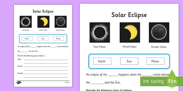 Solar Eclipse Worksheet