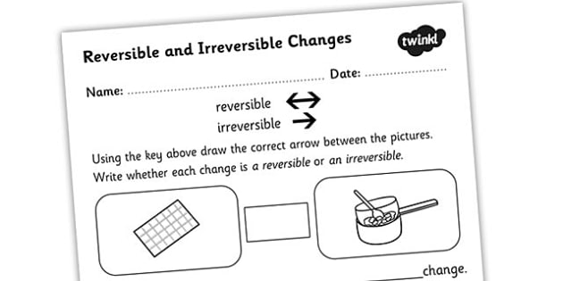 Changing States Reversible Irreversible Changes Worksheet   Worksheet