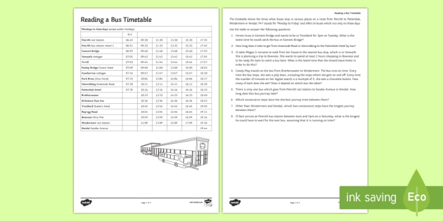 Reading A Bus Timetable Worksheet   Worksheet