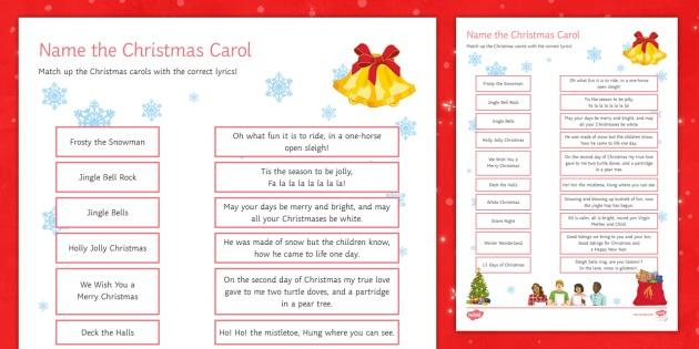 Christmas Carols Worksheet   Worksheet