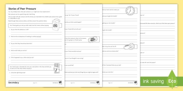 Peer Pressure Choices Worksheet   Worksheet